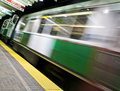 Moving subway train Stock Photos