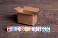 Moving to another office or house. Word relocation Royalty Free Stock Photo