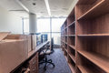 Moving to new office shelves and paper boxes building Royalty Free Stock Images