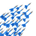 Moving to success many blue darts in one directional flow on the white background Royalty Free Stock Images