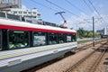 Moving train in Hong Kong Royalty Free Stock Photo