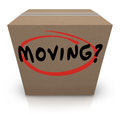 Moving word cardboard box changing location help support the on a to illustrate relocation assistance service such as logistics Royalty Free Stock Photography
