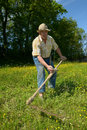Mow grass a farmer who mows the as before Royalty Free Stock Images