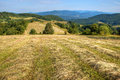 Mowed meadow with mountain valley Stock Image