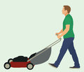 Mowing the lawn man with push mower Stock Images