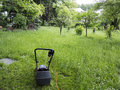 Mowing mower and garden overgrown with weeds Royalty Free Stock Photos