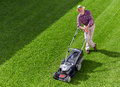 Mowing senior man, take a break Royalty Free Stock Photo