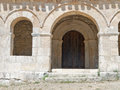 Mozarabic chapel with Romanesque portico Royalty Free Stock Image