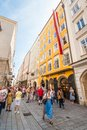 Mozart`s Birthplace house on busy popular shopping street Getreidegasse, Salzburg, Austria Royalty Free Stock Photo