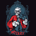 Mozart skeleton shirt design classic music t or poster print Stock Photos