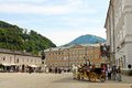 Mozartplatz in salzburg july tourists sightseeing on one of the most famous squares austria on july Royalty Free Stock Photography