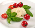 Mozzarella cherry tomatoes basil on a white plate Stock Images