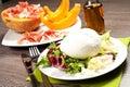 Mozzarella and ham and melon Royalty Free Stock Photo