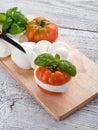 Mozzarella and tomato-mozzarella e Stock Photo