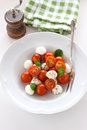 Mozzarella with tomatoes, italian herbs and salad leaves on a white plate on a table Royalty Free Stock Photo