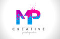 MP M P Letter Logo With Shatte...