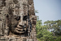 Mpressive face sculpture at angkor thom 