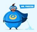 Mr. Freezer. Evil superhero. Cartoon vector illustration