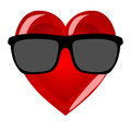 Mr heart on a white background. Cool character in hipster sungla