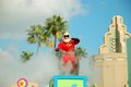 Mr incredible the main character from disney s the incredibles is greeting the crowd during the block party bash parade in Royalty Free Stock Photo