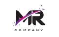 MR M R Black Letter Logo Design with Purple Magenta Swoosh