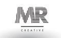 MR M R Black and White Lines Letter Logo Design.