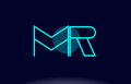mr m r blue line circle alphabet letter logo icon template vecto