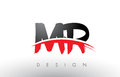 MR M R Brush Logo Letters with Red and Black Swoosh Brush Front
