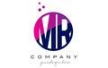MR M R Circle Letter Logo Design with Purple Dots Bubbles