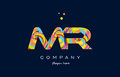 mr m r colorful alphabet letter logo icon template vector