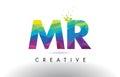 MR M R Colorful Letter Origami Triangles Design Vector.