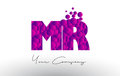 MR M R Dots Letter Logo with Purple Bubbles Texture.