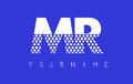 MR M R Dotted Letter Logo Design with Blue Background.
