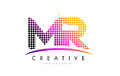 MR M R Letter Logo Design with Magenta Dots and Swoosh