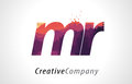 MR M R Letter Logo Design with Purple Forest Texture Flat Vector