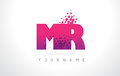 MR M R Letter Logo with Pink Purple Color and Particles Dots Des