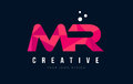 MR M R Letter Logo with Purple Low Poly Pink Triangles Concept