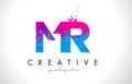 MR M R Letter Logo with Shattered Broken Blue Pink Texture Desig