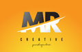 MR M R Letter Modern Logo Design with Yellow Background and Swoo