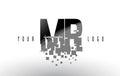 MR M R Pixel Letter Logo with Digital Shattered Black Squares