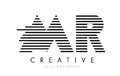 MR M R Zebra Letter Logo Design with Black and White Stripes