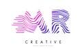 MR M R Zebra Lines Letter Logo Design with Magenta Colors