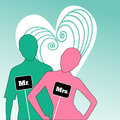 Mr and mrs people icons with graphic heart behind Royalty Free Stock Photography