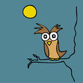 Mr owl illustration of hand drawn cartoon at night Royalty Free Stock Images