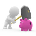 Mr smart guy destroys piggy bank d figures with hammer Royalty Free Stock Images