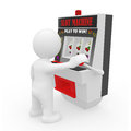 Mr smart guy on a one armed bandit d figure gambling Stock Images