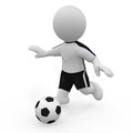 Mr smart guy plays soccer a d figure Royalty Free Stock Photo