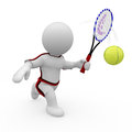 Mr smart guy plays tennis a d figure Stock Images