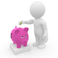 Mr smart guy saving money in piggy bank d figure putting sweet Stock Images