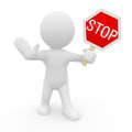 Mr smart guy with a stop sign d figure Stock Photo